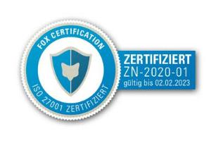 ISO 27001:2013 zertifiziert